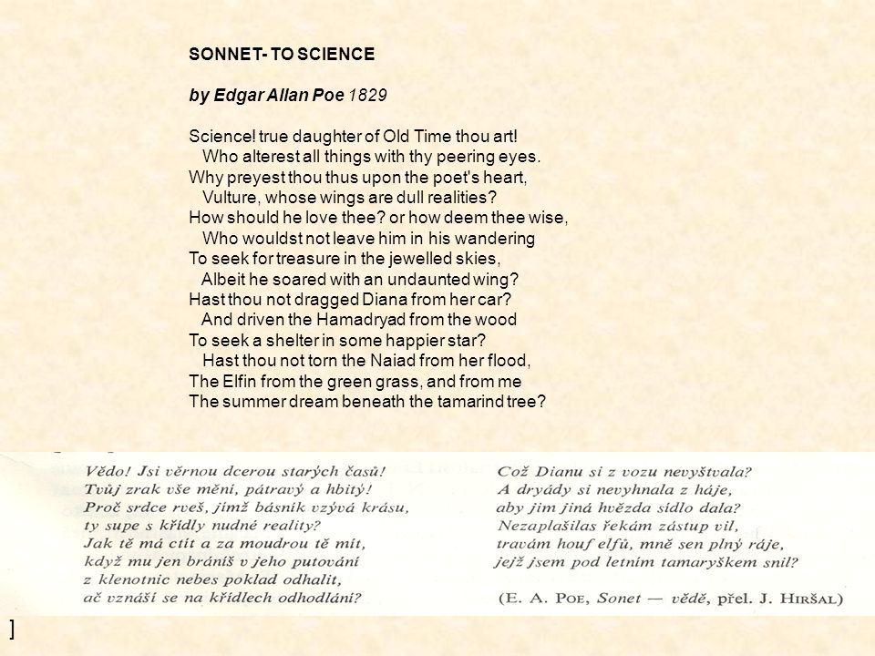 ] SONNET- TO SCIENCE by Edgar Allan Poe 1829